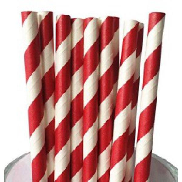 "8"" Red/White Paper Straws"